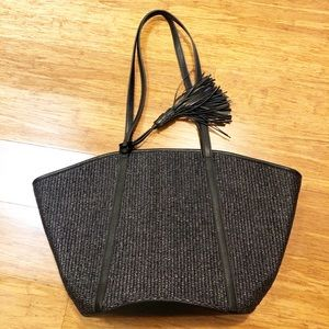 Ann Taylor navy blue woven large tote bag. NWOT.